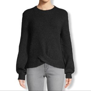 Joie Stavan Nubbly Knit Sweater w/Crossover Hem